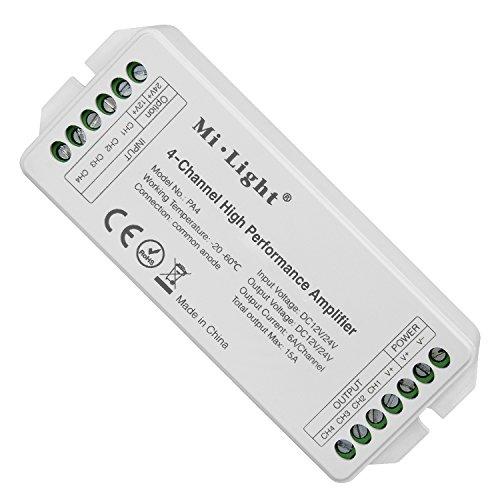 LIGHTEU®, Mi.Light PA4 4-Kanal Hochleistungsverstärker DC12V-24V Max. 15A RGB RGBW LED Verstärker Controller für RGB RGBW LED Streifen