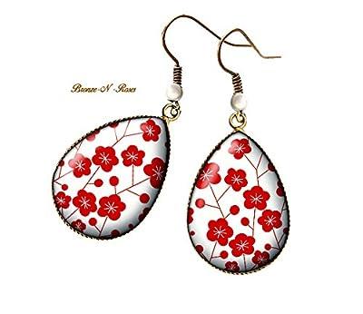 Boucles d'oreilles gouttes Fleurs sakura rouges cabochon bronze pendant bronze-n-roses