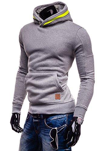 BOLF Kapuzenpullover Sweatshirt Hoodie Kapuze Pullover mit Reißverschluss Mix 1A1 Grau-Seladongrün_CTR-65