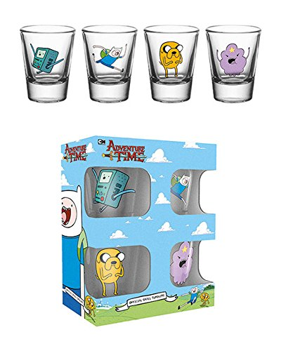 Adventure-Time-Charcaters-4-er-Set-Schnapsglser-Mini-Glser-je-2-cl-Hhe-6-cm--5-cm-am-oberen-Rand
