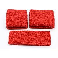 pasow Sweatband Diadema–Juego de 1y 2pares pulseras (Talla S y M) para deportes de algodón y actividades al aire libre Rojo rojo