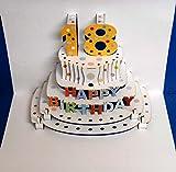 Pop Up 3D Karte Geburtstagskarte 18 Geburtstag Gutschein Torte 16x11cm