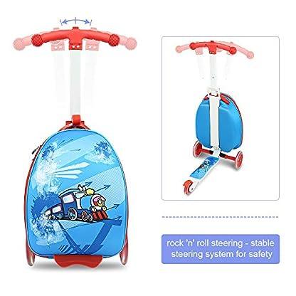 Funo-Woo-2-in-1-Kinderkoffer-Scooter-Klappbar-Hhenverstellbar-Roller-und-Kindergepck-Reisegepck-Trolley-Reisekoffer