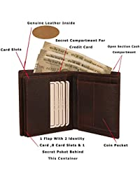 MOOCHIEF Brown Men Genuine Leather Wallet (14 Card Slots)