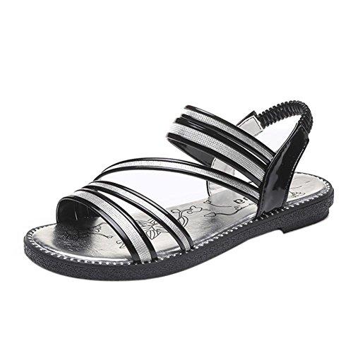 Bescita Sommer Hot Gladiator Sandale Frauen Sandalen bequeme Schuhe Schnürschuhe Schwarz