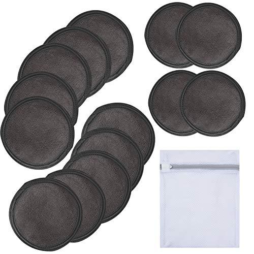 KinHwa discos de microfibra reutilizables almohadillas desmaquillantes lavables 14 paquete Negro
