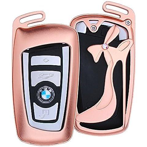 [M. JVisun] auto keyless entry Cover con scarpa con tacco alto portachiavi pelle per BMW Serie 123/456GT Serie X3, X4, M2, M3, M4, M5, M6, in alluminio guscio protettivo in vera pelle con portachiavi, Rose Gold