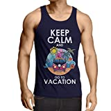 N4442V Camiseta sin Mangas Keep Calm and Go to Vacation (Large Azul