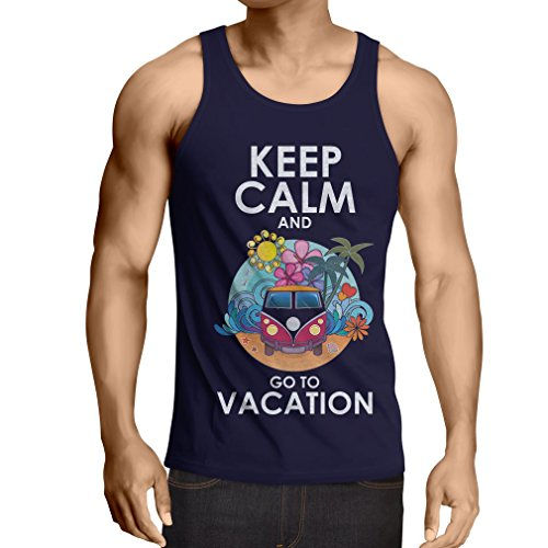 N4442V Camiseta sin mangas Keep Calm and Go to Vacation (XX-Large Azul Multicolor)