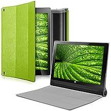 kwmobile Funda para Lenovo Yoga Tablet 2 10 1050 - Smart Cover de cuero sintético para tablet - Case ultra delgada para tableta en verde transparente