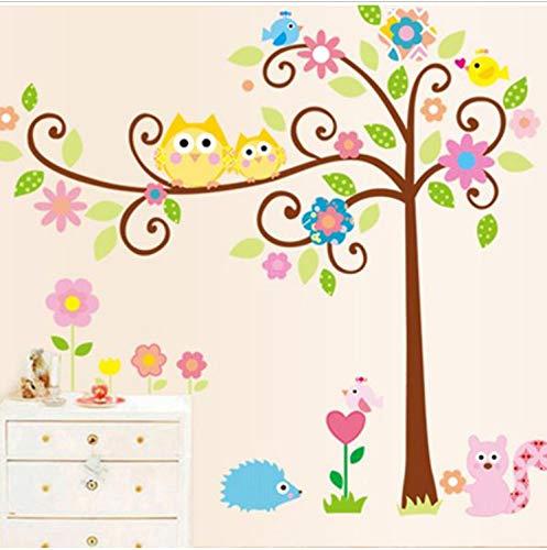 Bunte Eulen Cartoon Wandaufkleber Eulen Auf Dem Baum Kinderzimmer Dekor Wandtattoos Wandaufkleber Baby Abnehmbare