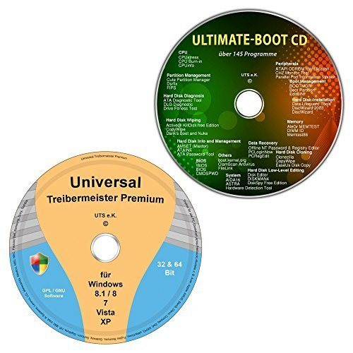 Universal Treiber-Meister CD/DVD für Windows 8.1 / 8 / 7 / Vista / XP (32 & 64 Bit) alle (PC & Notebook) Modelle + Ultimate Boot-CD / Ersthilfe & Notfall-CD für Windows Betriebssysteme [System-Diagnose- und Reparatur-Tools] (2 DVD Spar-Set)