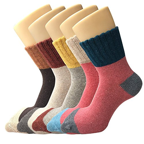 5 Pairs Womens Thick Wool Crew Thermal Socks for Winnter and Autumn