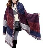 Minetom Sciarpa, Moda Donna Inverno Caldo Foulard Plaid Sciarpa Scialle Lungo Morbidi Sciarpe Wraps ( Vino Rosso )