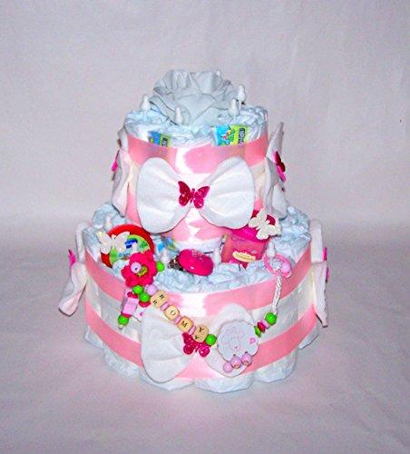 Gâteau de couches, rose, chaîne fille avec nom, attache sucette, cadeau de naissance, baptême, baby shower