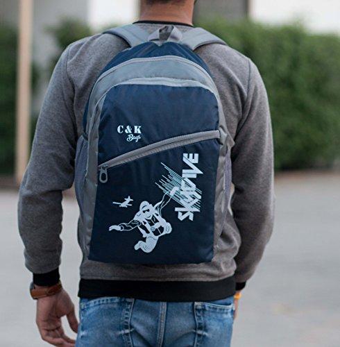 Chris & Kate Blue-Gray Polyester Spacious Comfortable Casual Backpack | Laptop Bag | School Bag | College Bag (30 litres)(CKB_122SS)