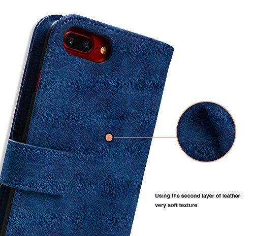 Coque iPhone 7, Mobest Étui Housse en Cuir iPhone 7, Cozy hut PU Cuir Flip Magnétique Portefeuille Etui Housse de Protection Coque Étui Case Cover avec Stand Support Avec des Cartes de Crédit Slot et  Bleu