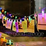 LED Foto Clips Lichterketten, Batteriebetriebene 20 LED Lichterkette, Floveme Stimmungsbeleuchtung Warmweiß Dauerlicht, Dekoration Licht für hängende Fotos, Wohnzimmer, Weihnachten, Party, Hochzeit [Energieklasse A+++]