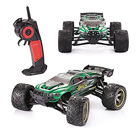 GPTOYS S912 Remote Racing Cars Truck Vechicles With 1/12 Scale Full Proportiona 2.4G Wireles Radio System 2WD Racing Electric Car Monster Truck Electric Speed 33mph Off-Road Truggy Drifting Christmas Gift Toy For Kids - Green
