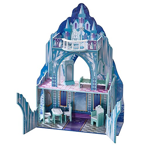 Teamson Kids - Ice Castle Kids Large Wooden Dollshouse Doll House with Furniture for 12 inch Dolls fits Barbie & Frozen Dolls