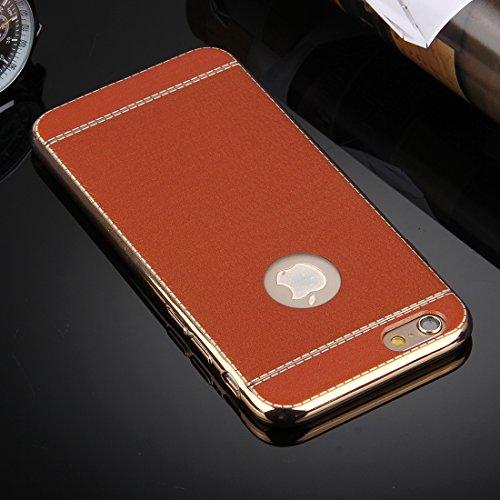 Für iPhone 6 Plus / 6s Plus, 3D Litchi Texture Soft TPU Schutzhülle DEXING ( Color : Red ) Brown