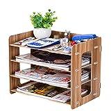 QFFL zhuomianshujia Desktop-Aufbewahrungsbox Büro-Regal aus Holz Aktenablage aus Holz mehrlagig (3 Farben, 3 Stile) Bücherregale (Farbe : Kirschholz, größe : 34×22×27cm)