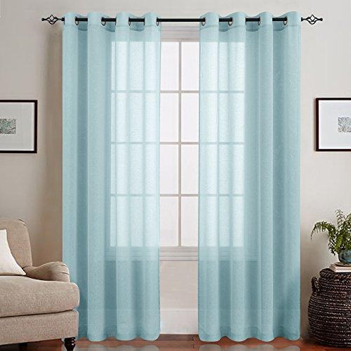 TOPICK Hell Blau Lange Gardinen Vorhang für Wohnzimmer transparent mit Ösen Ösenschal dekoschal Voile 225 x 140 cm (H x B) 2er Set - Blau Vorhänge Für Wohnzimmer