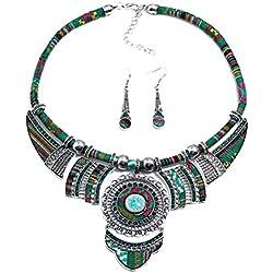 FENICAL Vintage bohemio collar babero pendientes conjunto joyería étnica Boho conjunto joyería de lujo moda para mujeres niña (verde)