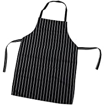 TRIXES Delantal Chef - Negro y Blanco Raya - Ideal Para Profesionales y Chefs Aficionados - Cocina Delantal - Para Cocinar / Hornear / Asar / Barbacoa - Delantal Babero - Cierre de Corbata - Delantal Rayas