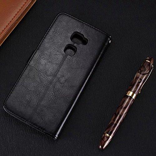 Wkae Case Cover Huawei Mate7 Fall feste Folio magnetische Design Flip Brieftasche Stil Fall Farbmuster PU-Leder-Abdeckung Standup-Abdeckungsfall für Huawei Mate7 ( Color : Blue , Size : Huawei Mate7 ) Black