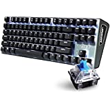 Rantopad MXX Gaming Mechanical Keyboard 87 Keys, Blue Switches with White Backlight, Pure Aluminum Top Cover Grey