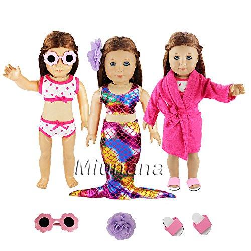Doll Passenden Schlafanzug (Miunana 3 Sets Kleidung Schlafanzug Meerjungfrau Badeanzug Bikini Brille Pantoffel Haarklemme für 46cm Puppen 18 Inch American Girl Dolls Stehpuppe Süß Puppenbekleidung)