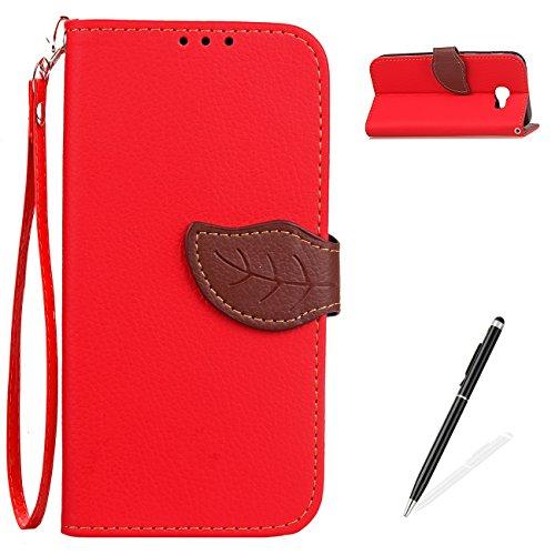 MAGQI Compatible with Custodia Samsung Galaxy J5 Prime Slim Fit PU Pelle Folio Portafoglio Retro Due Color Design Fatti a Mano di Copertura Stylish Pelle Pprotettiva Conchiglia Case - Rosso