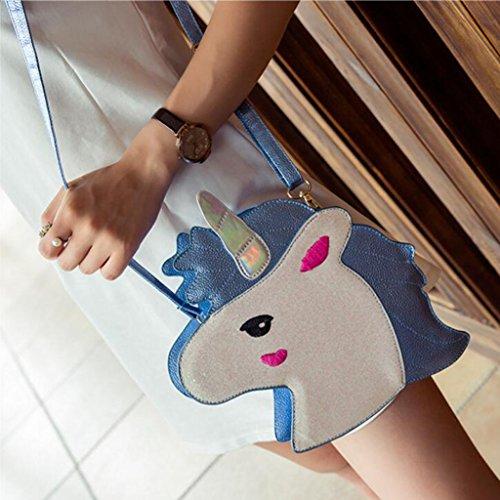 MagiDeal Borsa Da Ragazze Alla Moda Cavallino Unicorno Carino Regalo Di Compleanno 25 x 21 x 27 cm Con Tracolla 120cm Regolabile Blu