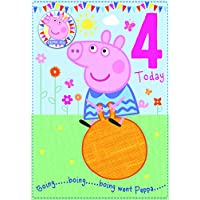 Peppa Pig Age 4 Birthday Card with Badge