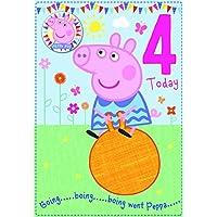 Peppa Pig Age 4 Birthday Card with Badge