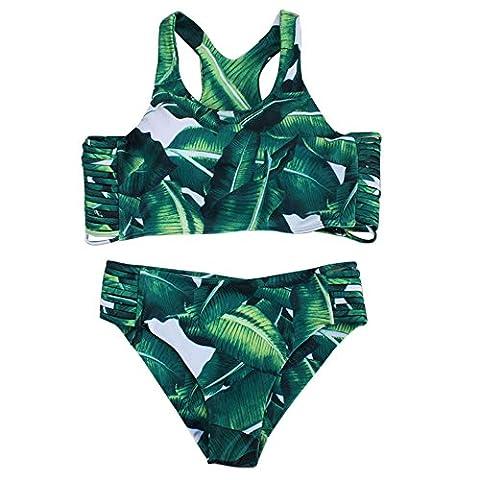Loveso Sommer Bikini Damen Grün Blatt Muster Verband Sport BH Unterwäsche Bikini Sets Bademode Badeanzug Für Frauen Mädchen ((Größe):36 (M), Grün)