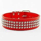 Dogs Kingdom 3Reihen Silber Nieten Nieten PU Leder verstellbar Halsbänder Halskette für mittelgroße/große Hunde, schwarz