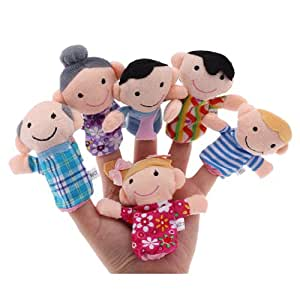 LOT DE 6 MARIONNETTES A DOIGTS PELUCHE FAMILLE JOUET ENFANT FETE HISTOIRE NOEL