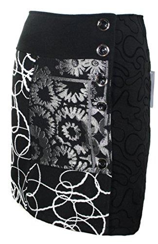 #604 Damen Designer Patchwork Rock Schwarz Winter Rock (XXL 42) (Rock Lana Wolle)