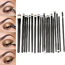 Sunnicy® - Juego de brochas para maquillaje profesional (20 piezas), set de pinceles, sombra de ojos, delineador de ojos, maquillaje de labios, especialmente diseñado para chicas, adolescentes, mujeres y señoras - (20 unidades en negro)