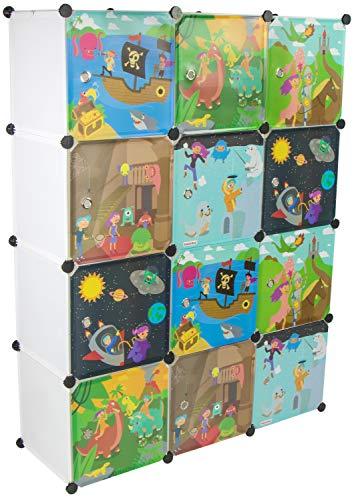 KEKSKRONE Sehr Großer Kinderschrank Bunte Motiv-Türen - DIY Stecksystem - 12 Module je 37 x 37 x 37 cm, Weiß | Kinderzimmer-Schrank | Kinderkleiderschrank | Baby-Regal | Spielzeugkommode -