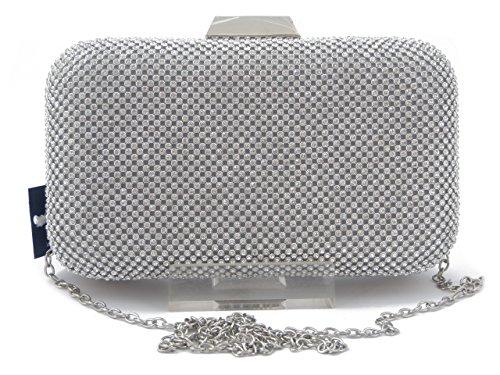 Pochette elegante in tessuto tempestato di strass - MHL0076 Argento