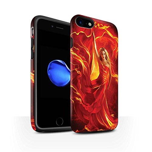 Officiel Elena Dudina Coque / Matte Robuste Antichoc Etui pour Apple iPhone 8 / Robe Feu Design / Dragon Reptile Collection Robe Feu