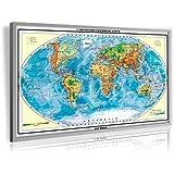 Pinnwand Weltkarte Deluxe 90 x 60 cm, im Alurahmen, inklusive 100 Stück XXL-Pack gemischte Markierungsfahnen