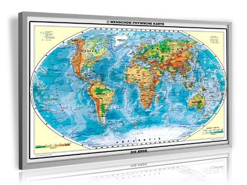 Preisvergleich Produktbild Pinnwand Weltkarte physisch im silbernen Alurahmen 90 x 60 cm, laminiert (beschreib und abwischbar)
