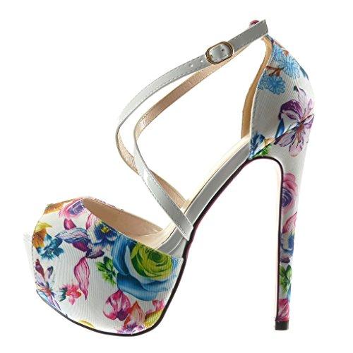 Angkorly Scarpe Moda scarpe decollete sandali stiletto zeppe sexy donna fiori tanga Tacco Stiletto alto 15 CM Bianco