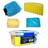 Auto-Reinigungsset, 5-teilig (Box inkl. Schwamm, Chenille Wasch-Handschuh, Mikrofasertuch, PU-Tuch) | Pflege-Set für Auto und Motorrad | Autowäsche