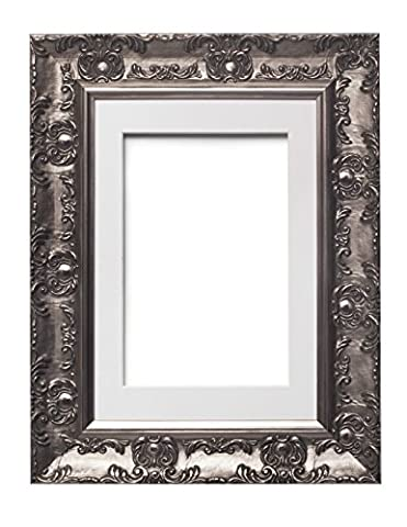 Muse Gun Metal with White Mount Wide Ornate MUSE Picture Frame / Photo Frame / Poster Frame With an MDF backing board - With a High Clarity Styrene Shatterproof Perspex Sheet - 12