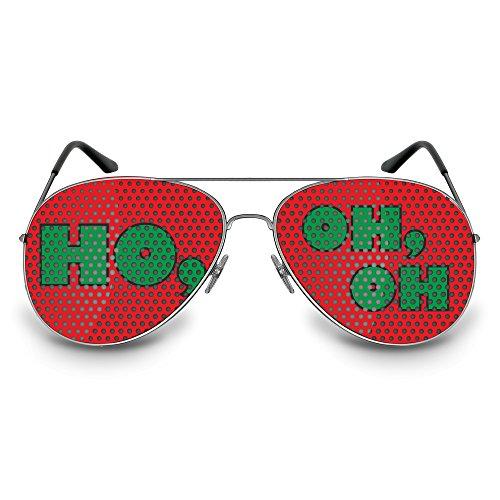 COOLEARTIKEL Partybrille / Spassbrille für Weihnachten, lustige Accessoire Idee für die Weihnachtfeier oder Christmas Party, Atzen-brille mit X-MAS Motiv (Pilot silber, HO, OH, OH)